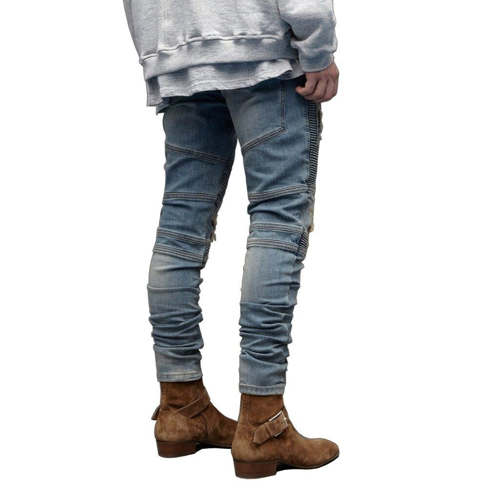 New Fashion Men Ripped Jeans Streetwear hip Hop Hole Zipper Pencil Jean