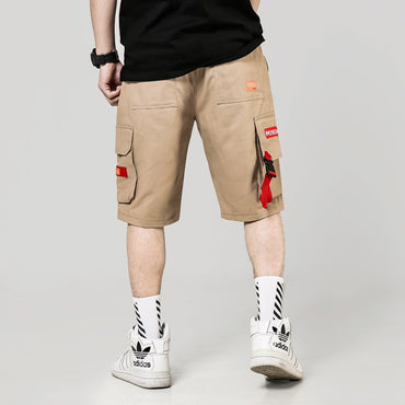Men Ribbons Pockets Casual Streetwear Cargo Shorts