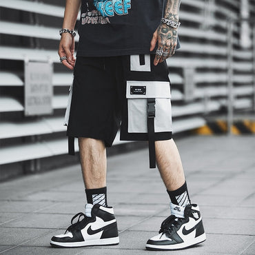 Men Streetwear Color Block Cargo Shorts