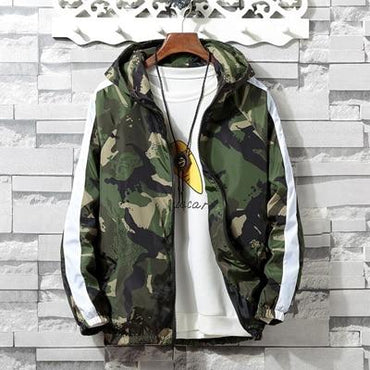 Men Jacket Casual Windbreaker Camouflage Hooded Bomber Jacket