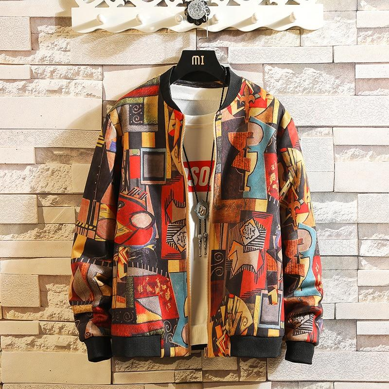 Men Bomber Jacket Two Sides Print Hip Hop Streetwear Top Brand Designer