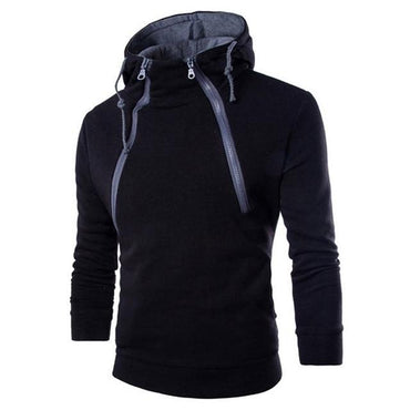 Men Zipper Patchwork Hoodies Long Sleeve O-Neck Sport Style