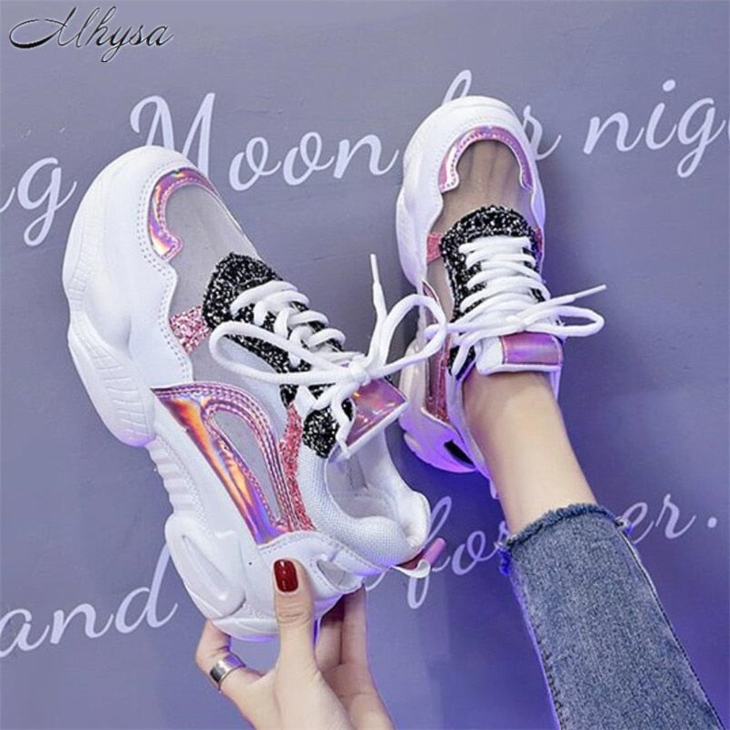 Women Fashion Bling Platform Shoes Breathable Mesh Sneakers