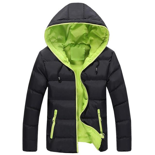 Men Winter Coat Windbreaker Slim Fit Hooded Fashion Overcoat