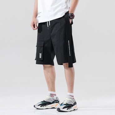 Street Style Men Fashion Ribbons Pocket Cargo Shorts