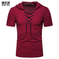 Men Jacobite Ghillie V Neck Bandage Streetwear Short Sleeve Tshirt