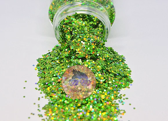 Chunky Holographic  Peridot 2 oz Bottle