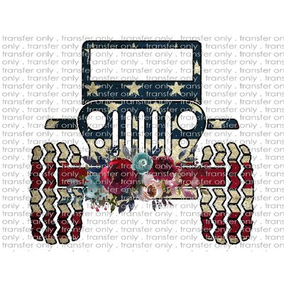 ADV 18 American Flag Jeep Flower