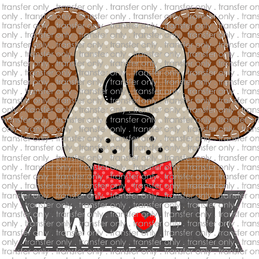 ANM 36 I woof you brown red bowtie