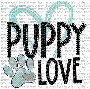 ANM 39 Puppy love teal plaid paw