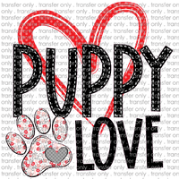 ANM 40 Puppy love pink red flower paw