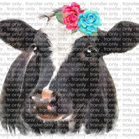 ANM 7 Black and White Watercolor Cow with Flowers