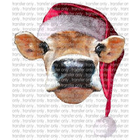 CHR 106 Moms Cow Watercolor Santa Hat