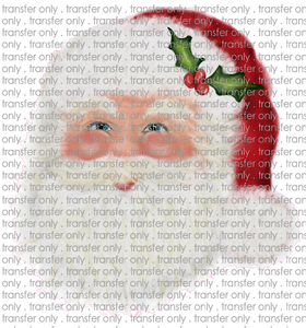 CHR 176 Handdrawn Watercolor Santa Red Hat