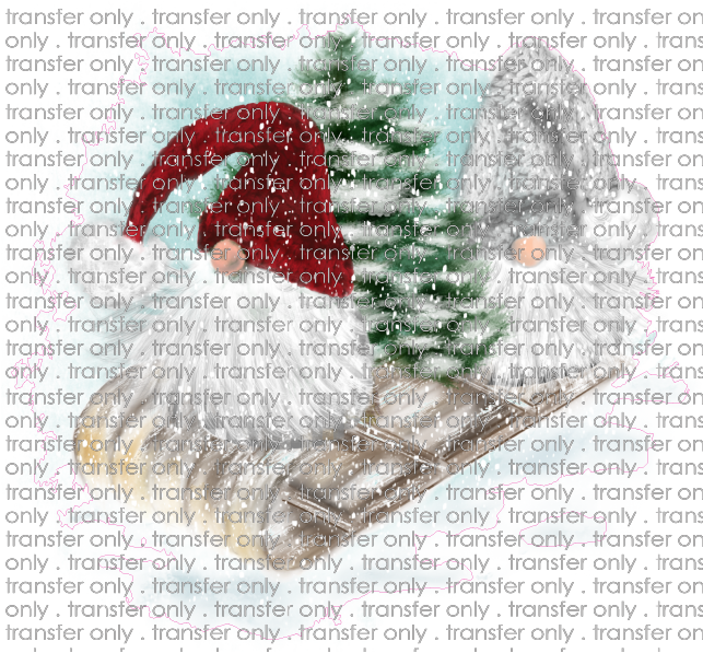 CHR 178 Gnomes on a Sleigh with Blue Background
