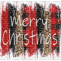 CHR 195 Merry Christmas Red Black Leopard Brushstroke