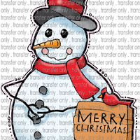 CHR 217 Snowman With Red Scarf Merry Christmas