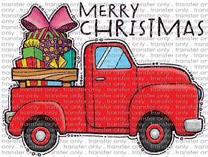 CHR 218 Red Truck with Gifts Merry Christmas
