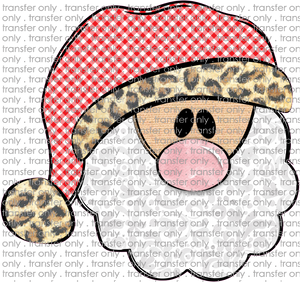CHR 231 Santa Red Gingham Leopard Hat
