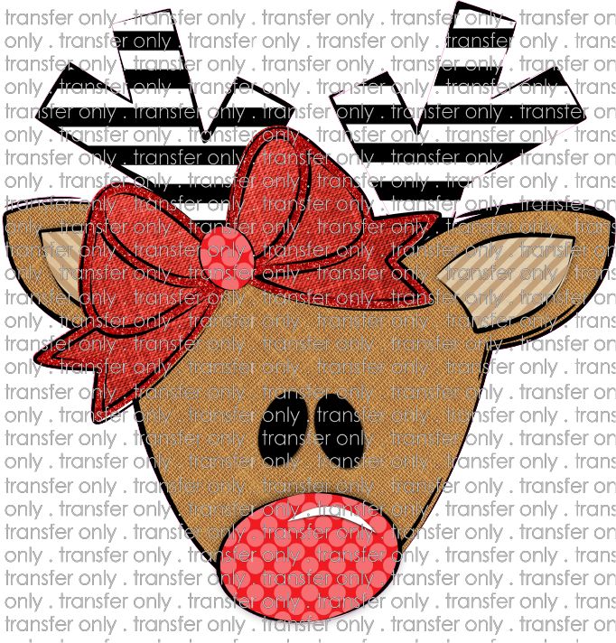 CHR 233 Reindeer Stripe Antlers Red Dot Nose Red Bow