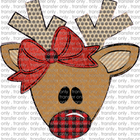 CHR 241 Reindeer Dot Antlers Buffalo Nose Red Bow