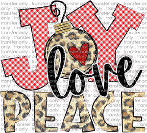 CHR 266 Joy Love Peace Leopard Red Gingham