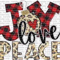 CHR 267 Joy Love Peace Leopard Buffalo Plaid