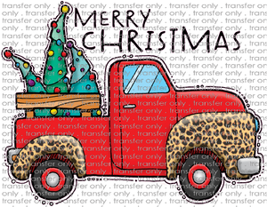 CHR 295 Merry Christmas Truck Leopard with Trees