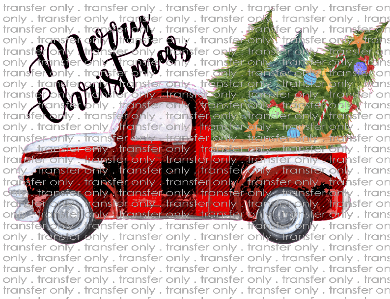 CHR 351 Merry Christmas Buffalo Plaid Christmas Truck