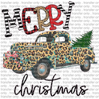 CHR 68 Merry Christmas Leopard Teal Truck