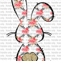 EST 19 Bunny Outline Black Flowers