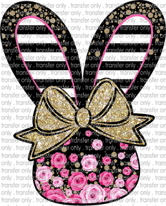 EST 23 Bunny Black Pink Flowers Black Stripes