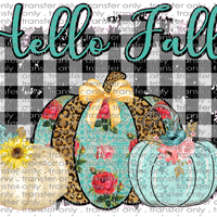 FALL 136 hello fall BUFFALO PLAID pumpkins