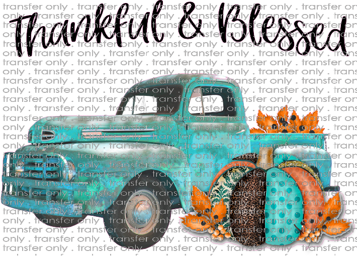 FALL 195 Thankful and Blessed Turquoise Truck Fall Pumpkin