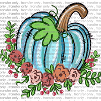 FALL 242 Blue Pumpkin with Flowers