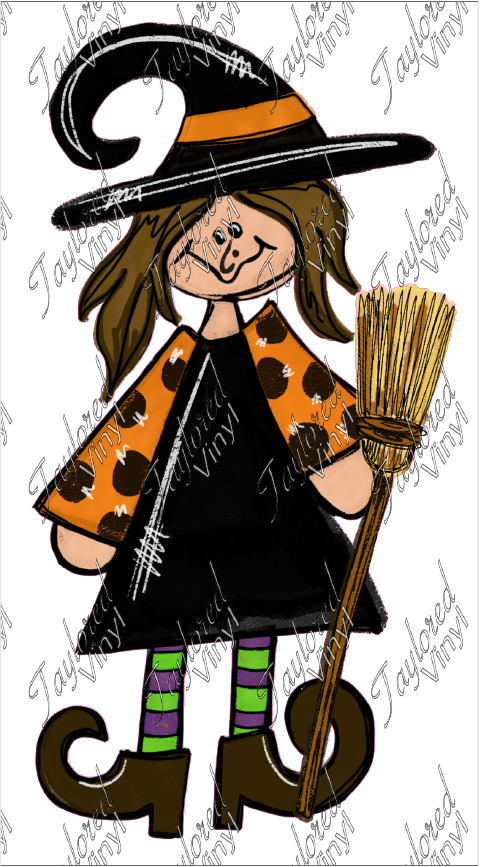 HALLO 45 Happy Witch With Broom