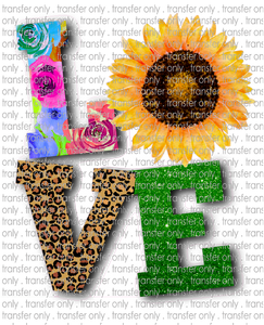 LOV 25 Love Sunflower, Leopard and Flowers