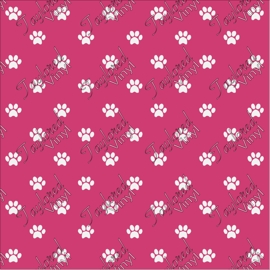 Dog Puppy Paw Prints Pink