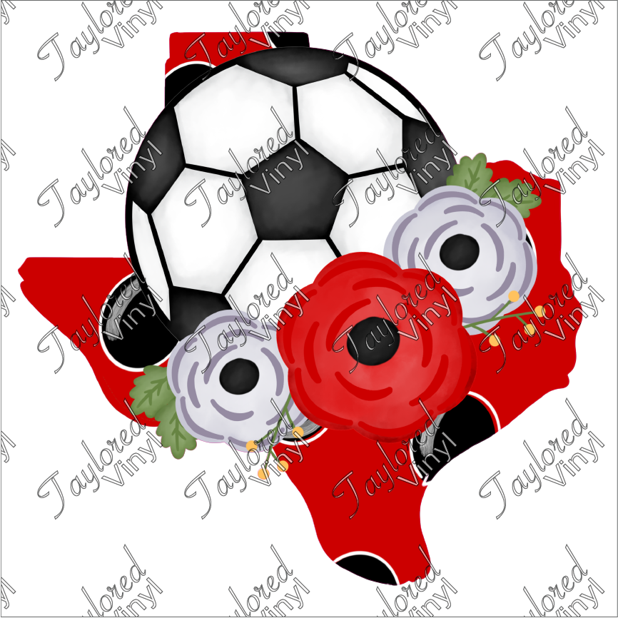 SPT 194 Texas Soccer Ball Red And Grey Flowers