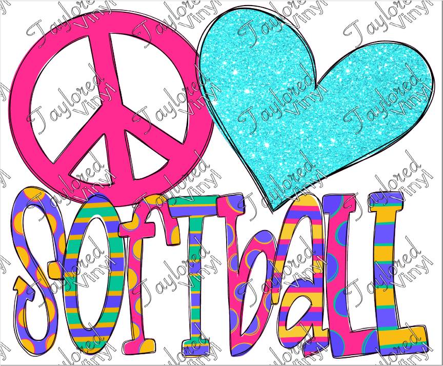 SPT 202 Peace Love Softball Dots and Stripes