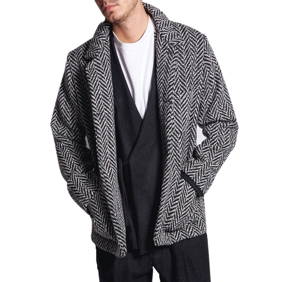 MEN'S SHIRT-JACKET FISHBONE BLACK&WHITE