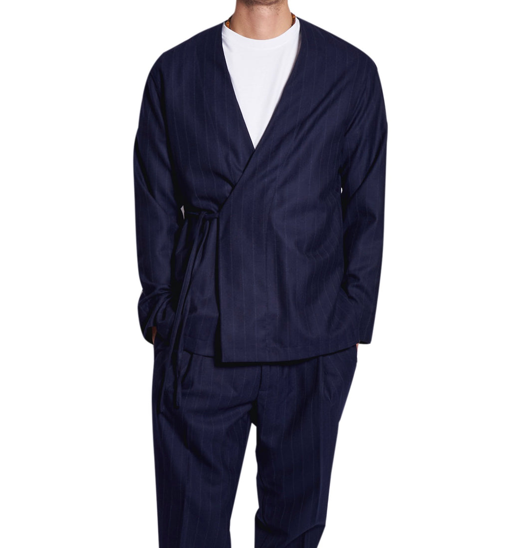MEN'S KIMO-SHIRT PINSTRIPE BLUE