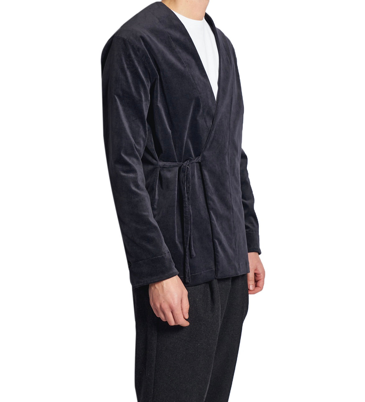 MEN'S KIMO-SHIRT VELVET DARKBLUE