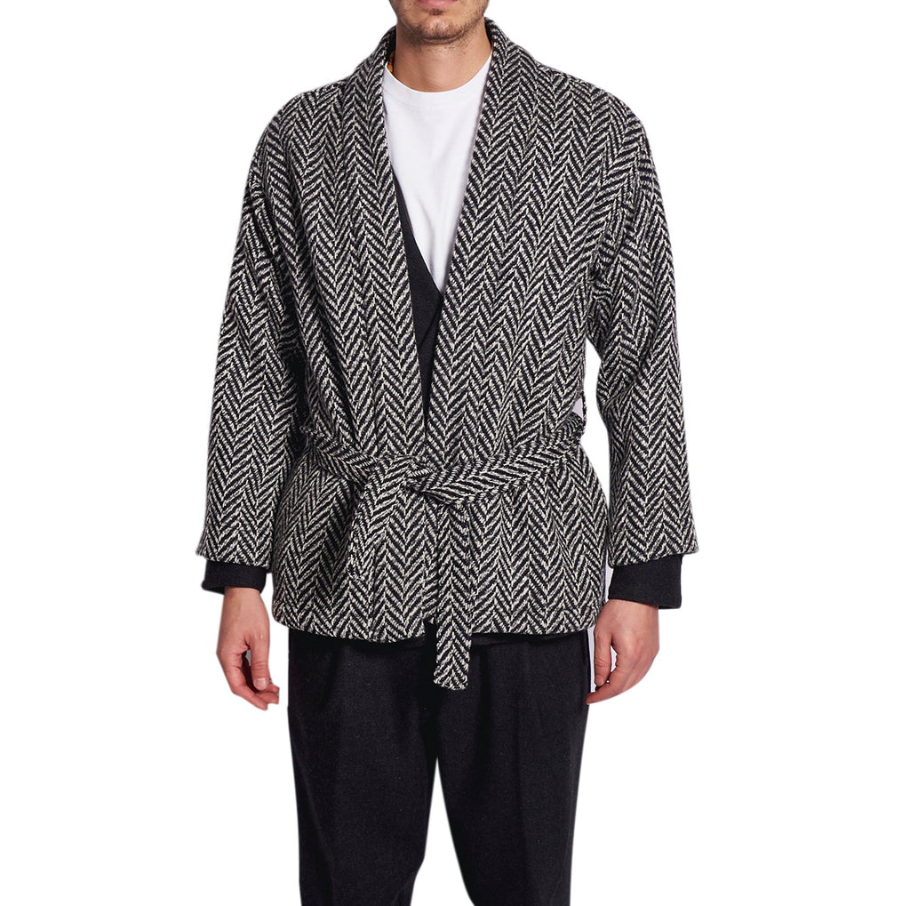 MEN'S KIMO-JACKET FISHBONE BLACK&WHITE