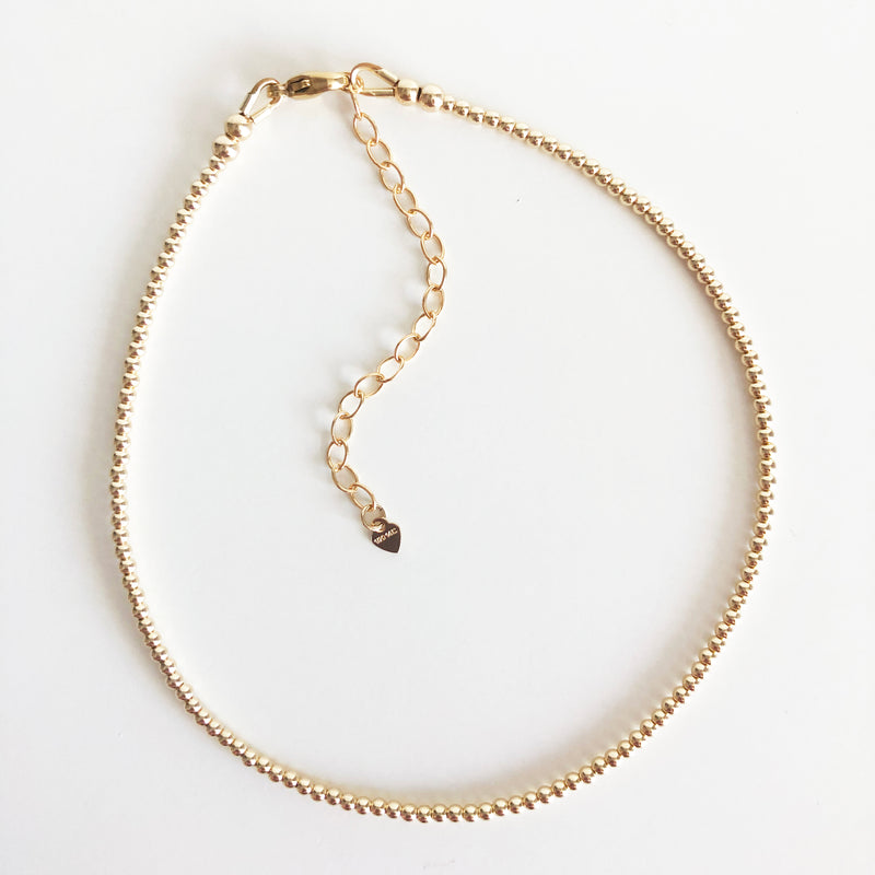 2mm Beaded 14K Gold-Filled Anklet with Extender