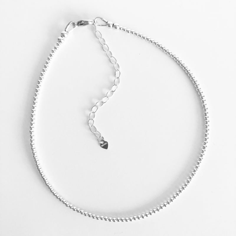 2mm Beaded Sterling Silver Anklet with Extender