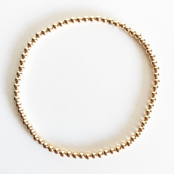 3mm Classic Beaded 14K Gold-Filled Bracelet