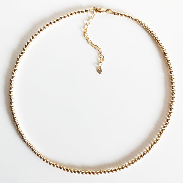 3mm Beaded 14K Gold-Filled Necklace with Extender