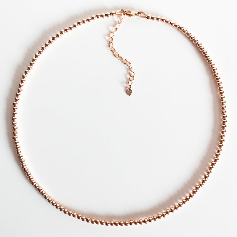 3mm Beaded 14K Rose Gold-Filled Necklace with Extender