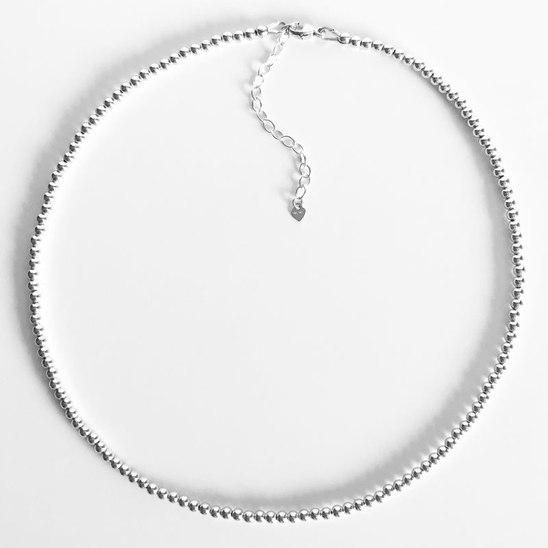 3mm Beaded Sterling Silver Necklace with Extender